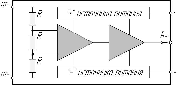 Схема интегрального датчика напряжения
